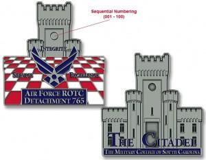 The Citadel AF ROTC 765 Challenge Coins